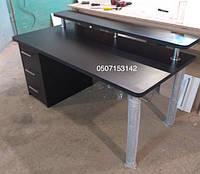 Черный компьютерный стол с левосторонней тумбой. Модель V254