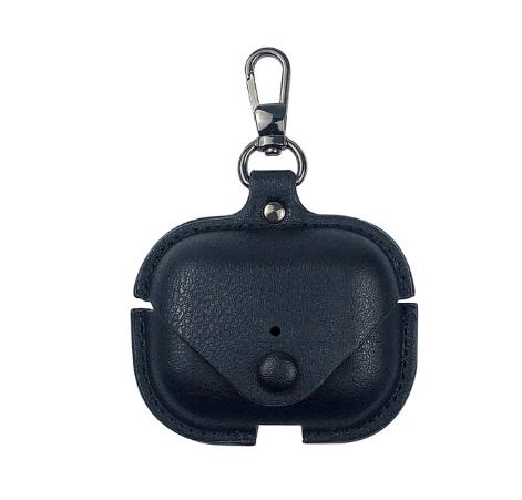 Кожаный чехол с карабином IQEA для наушников Apple AirPods Pro Цвет чёрный Bluetooth Silicone Case