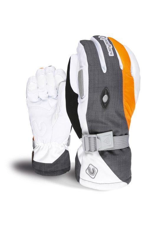 Гірськолижні жіночі рукавички Level Explorer W кол. Білий-сірий-оранжевий| розмір - 7 (S)