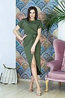 Женское удлиненное платье из хлопка с низом на запах, фото 1