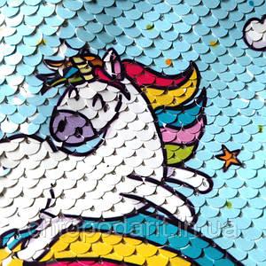 Бананка на пояс Юникорн прекрасная сумка через плече с пайетками голубая  Код 19-0534