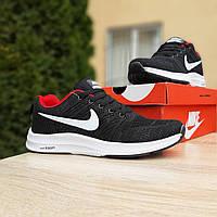 Мужские кроссовки в стиле Nike Zoom, текстиль, черные с белым и красным 41 (26 см)