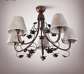 Люстра прованс с цветами для зала, большой комнаты 5-ти ламповая  9555-2