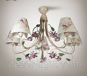 Люстра прованс с цветами для зала, большой комнаты 5-ти ламповая  9555