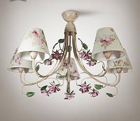 Люстра прованс з квітами для залу великої кімнати 5-ти лампова 9555