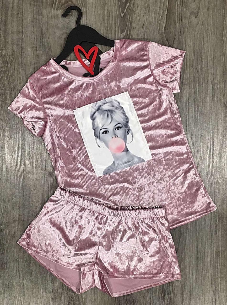 Модные женские пижамы, комплект футболка с шортами.