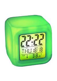 Годинник хамелеон з термометром будильник нічник