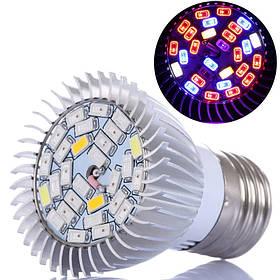 Фитолампа фіто лампа для рослин, повний спектр E27, 28 LED 8Вт
