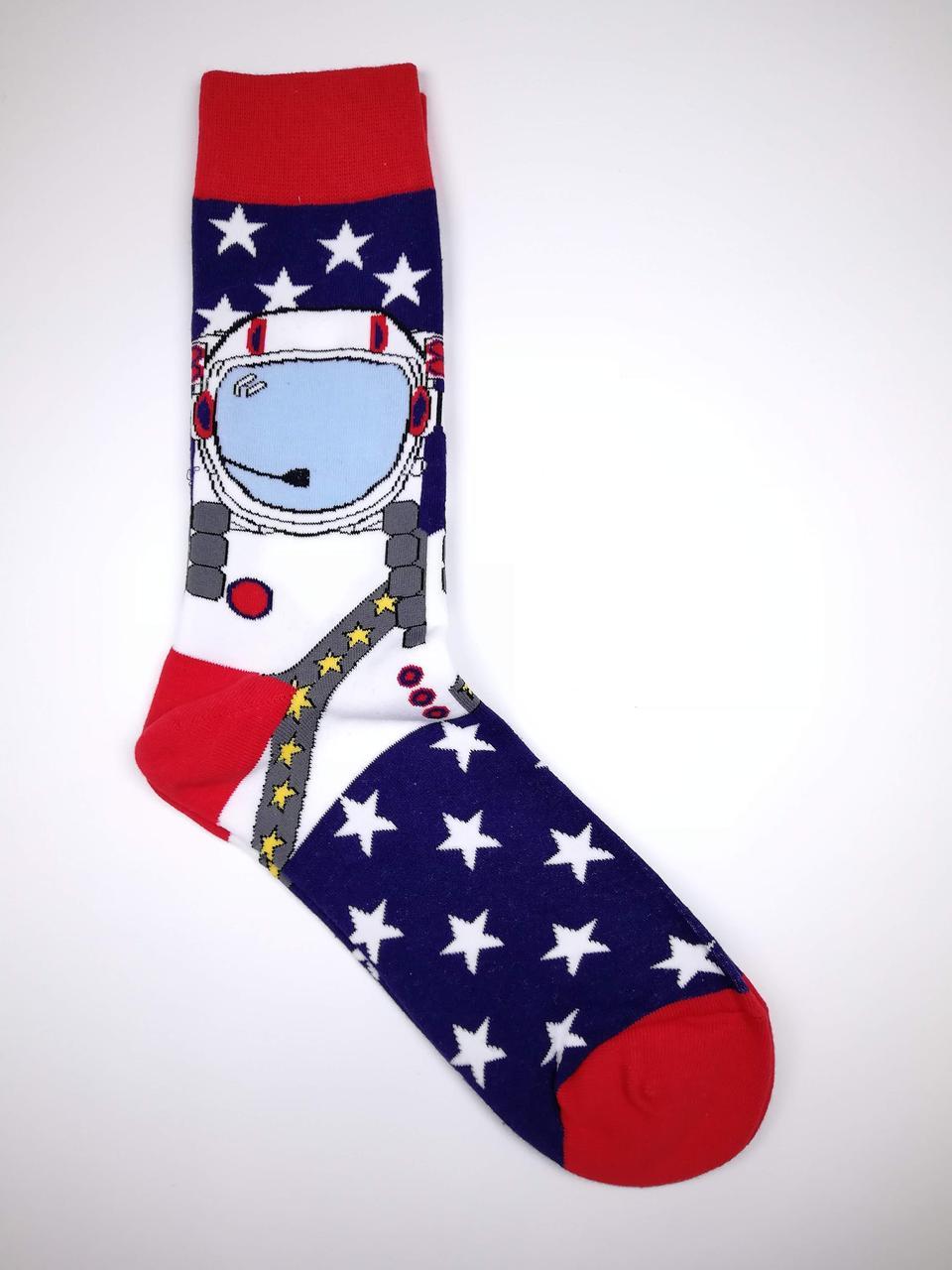 Чоловічі бавовняні оригінальні шкарпетки з принтом Космонавт