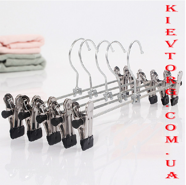 Металлические вешалки брючные с прищепками, 30 см, хром, прочные