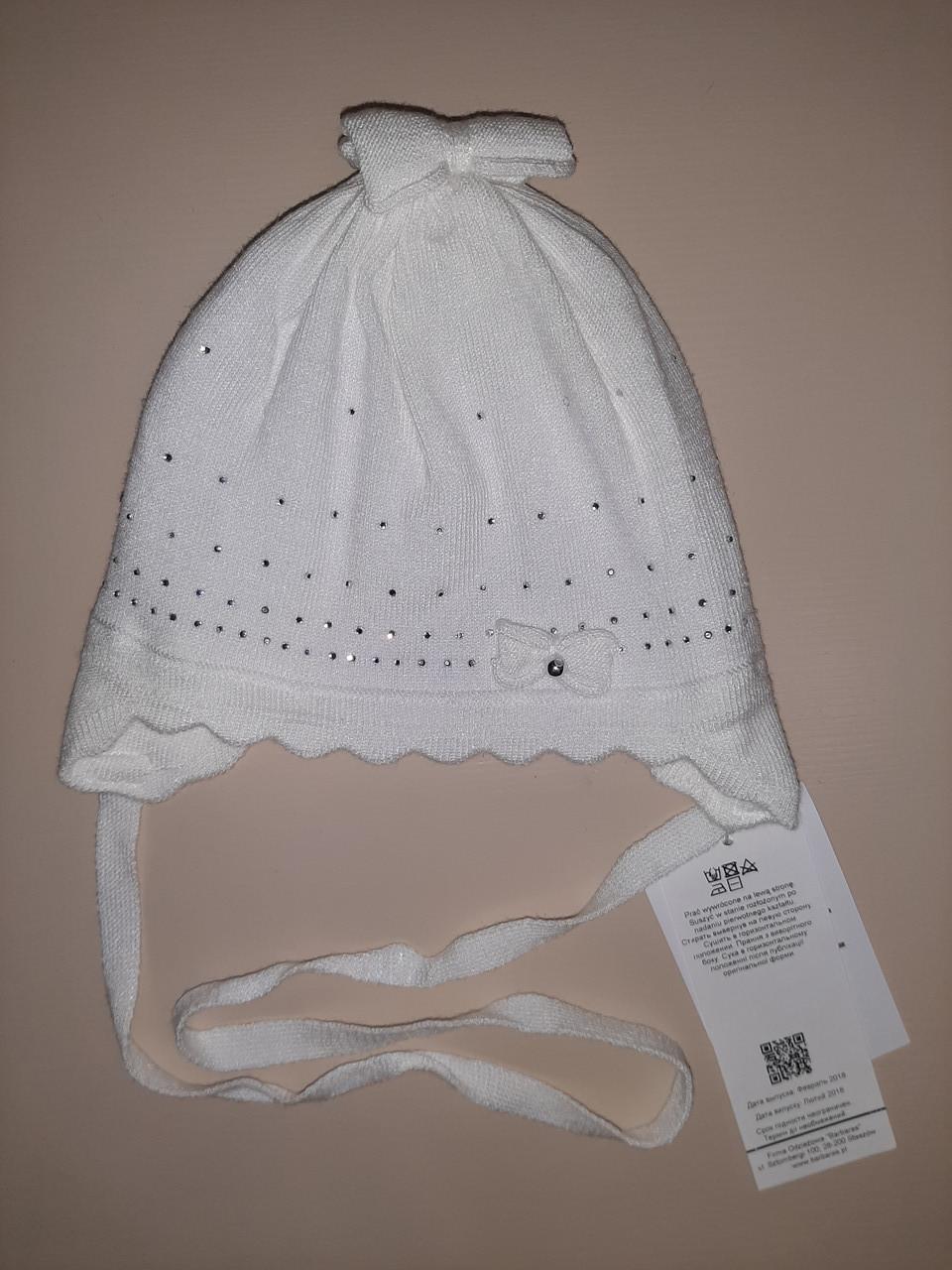 Детская демисезонная шапка для девочки белая р.40-42,42-44 ТМ Barbaras