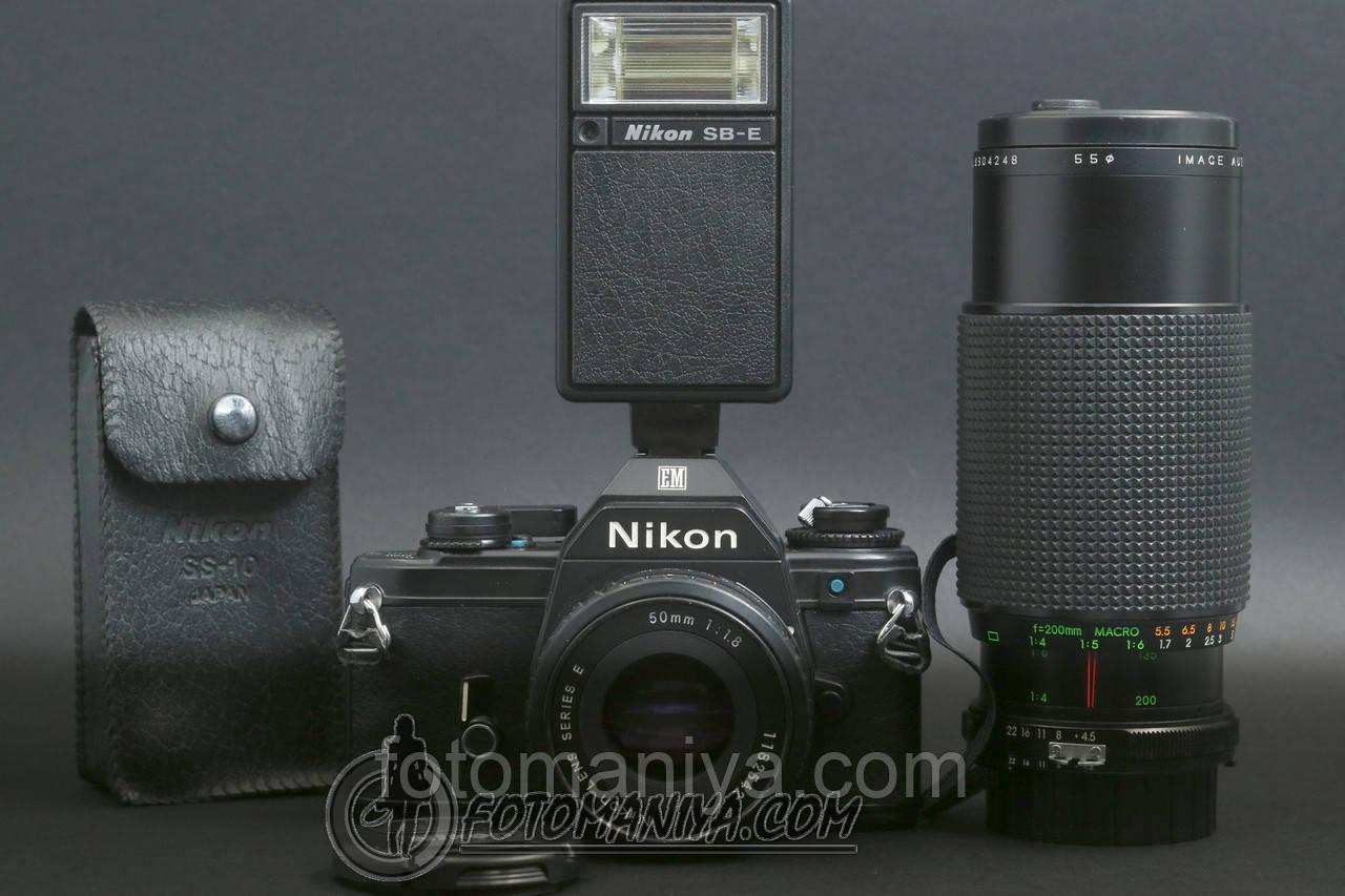 Nikon EM kit Nikon Lens Series E 50mm f1.8 + Nikon SB-E + Image 80-200mm f4.5