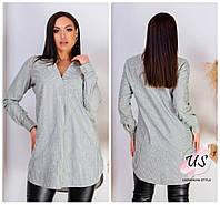 Женская батальная льняная рубашка-туника в полоску. 3 цвета!