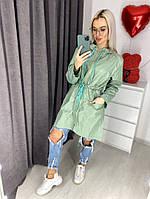 Женский стильный тренчкот с капюшоном из плотного полиэстра Батал, фото 1