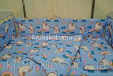 Набор детского постельного белья в кроватку пони - единороги  / Бортики в кроватку / Защита в манеж, фото 3