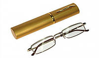 Готовые очки для коррекции зрения в металлическом футляре. Для чтения.