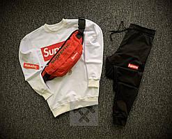 Мужской спортивный костюм тройка Supreme черно белого цвета с красной бананкой