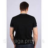 Черная футболка однотонная с V - образным вырезом, фото 5