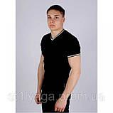 Черная футболка однотонная с V - образным вырезом, фото 4