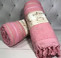 Пляжное хлопковое  полотенце с кисточкамя, розового цвета, By ido, Турция
