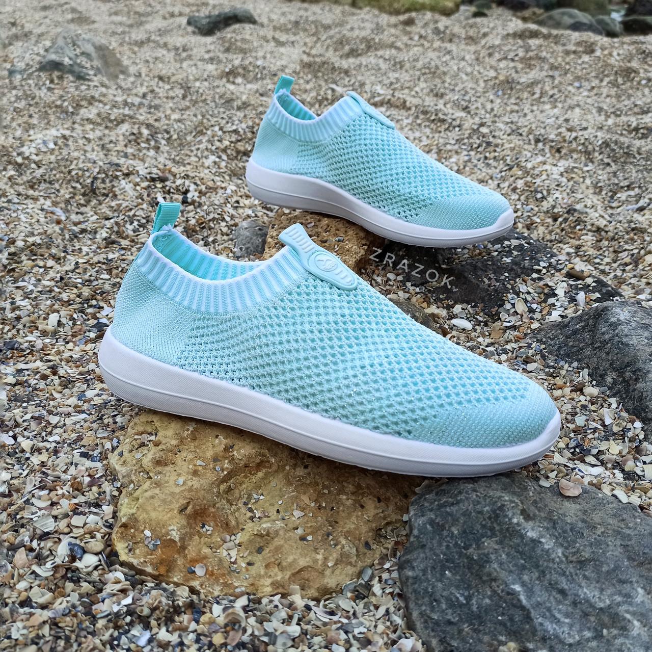 39 розмір Жіночі м'ятні блакитні блакитні кросівки сітка текстиль сліпони кеди без шнурків кросівки