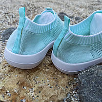 39 розмір Жіночі м'ятні блакитні блакитні кросівки сітка текстиль сліпони кеди без шнурків кросівки, фото 2