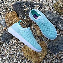 39 розмір Жіночі м'ятні блакитні блакитні кросівки сітка текстиль сліпони кеди без шнурків кросівки, фото 3