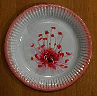 Тарелка бумажная круглая 22см цветок
