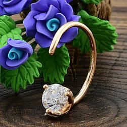 Кольцо Xuping детское 14316 размер регулируемый ширина 5 мм вес 1.0 г белые фианиты позолота 18К