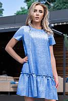 Голубое летнее платье лен Розетта