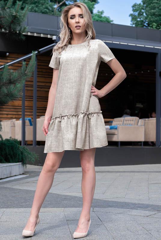 Светлое льняное платье Розетта