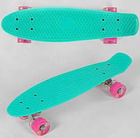 Пенни борд для девочек 55 см, СВЕТ колёса PU 6см Мята Скейтборд, Penny board, Лонгборд для детей, детский