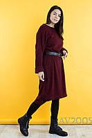 Женское удлиненное платье из ангоры с поясом, фото 1