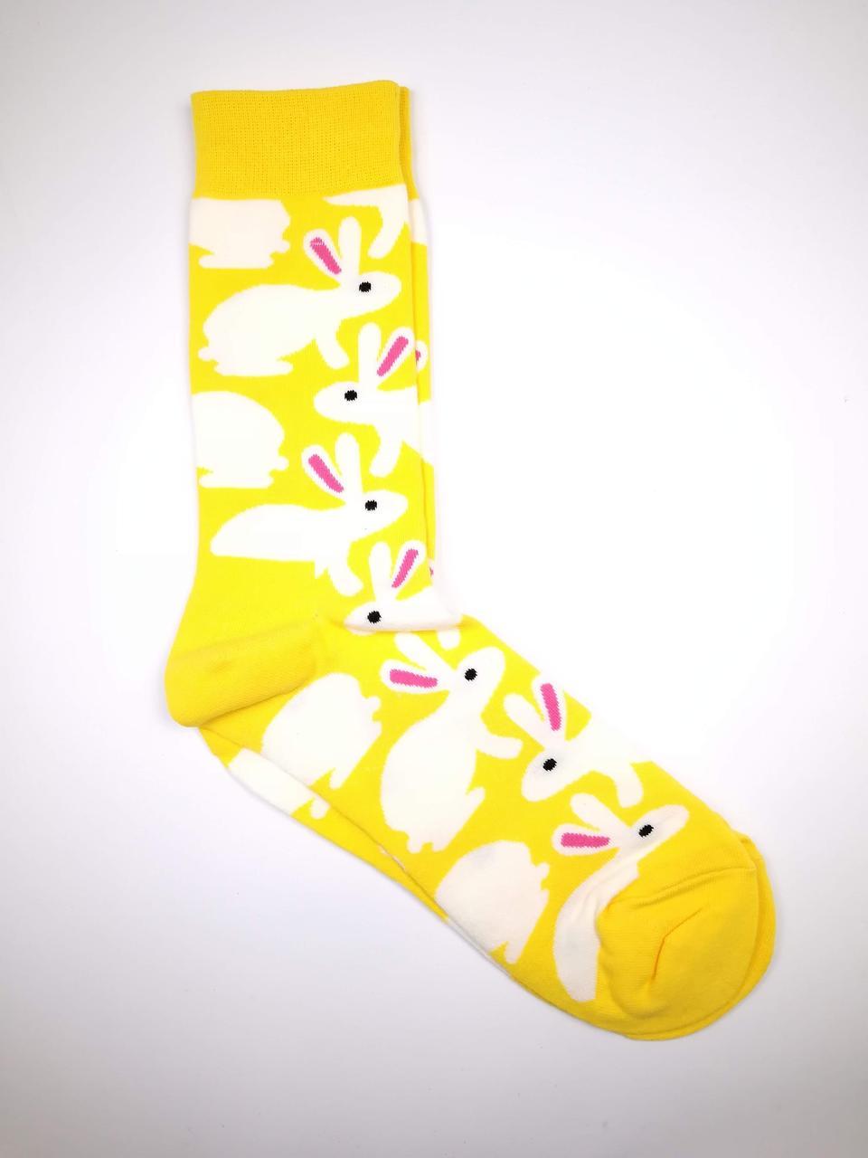 Чоловічі шкарпетки з яскравим принтом Зайчики