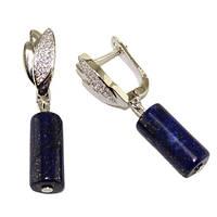 Сережки из лазурита, под серебро, OM10292
