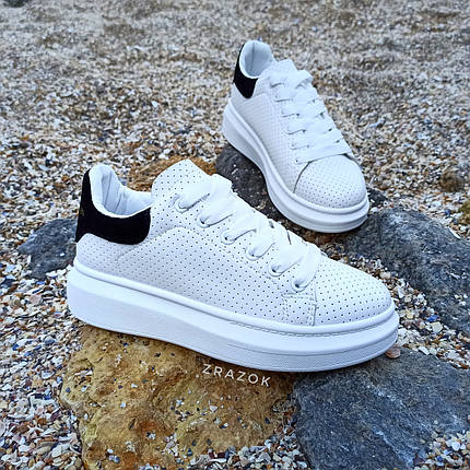 Кроссовки криперы ALEXANDER MCQUEEN |копия| белые на толстой подошве высокие кожаные перфорация, фото 2