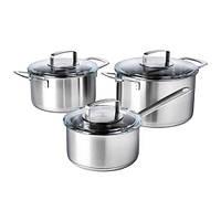 IKEA 365+  Набор кухонной посуды, 3 предмета, нержавеющ сталь, стекло