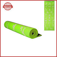 Йогамат. Каремат. Коврик  для спорта с рисунком 1730х610х4мм Коврик для йоги. (Зелёный)