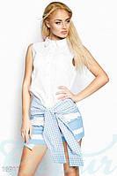 Рубашка женскаю без рукав с поясом в мелкую клетку