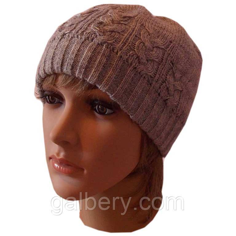 """Женская вязаная шапка """"косичка"""" серебристо-серого цвета"""