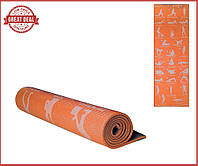 Йогамат. Каремат. Коврик  для спорта с рисунком 1730х610х6мм Коврик для йоги. (Оранжевый)