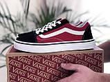 Мужские кеды Vans,замшевые,красные с черным, фото 2