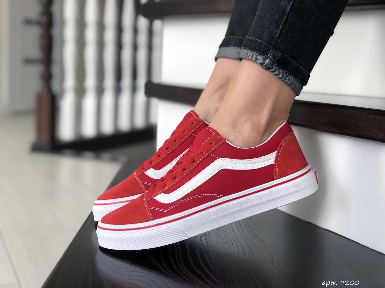 Женские кеды Vans,замшевые, красные