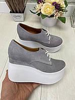 Стильные женские замшевые туфли на платформе. Серый. Р-ры: 36-41