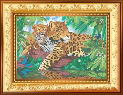 Схема для вишивки бісером Великі киці. Ягуари біля річки. Арт. ВКД-13