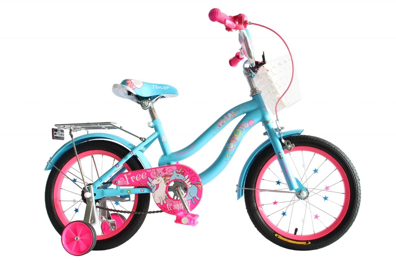 """Велосипед 16"""" Formula FLOWER 2020 (розовый с голубым)"""