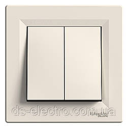 Выключатель двухклавишный Schneider Electric Asfora (самозажимной)