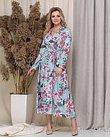 Плаття женское на запах стьньное нарядное софт принт цветы Размеры 50 52 54 56 опт  батал красивое