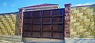 Распашные филёнчатые ворота ш3450 в2200 (дизайн шоколадка, с эффектом жатки)