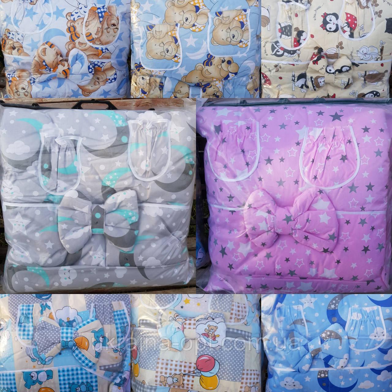 Детский комплект в кроватку + подпора для балдахина 9 предметов Bonna
